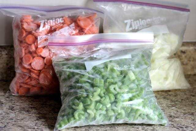 Kitchen Shortcut: Make your own Mirepoix {Celery, onions & carrot mix} Butter with a Side of Bread