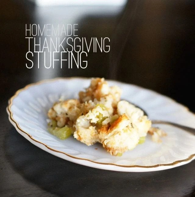 homemade thanksgiving stuffing, butter with a side of bread