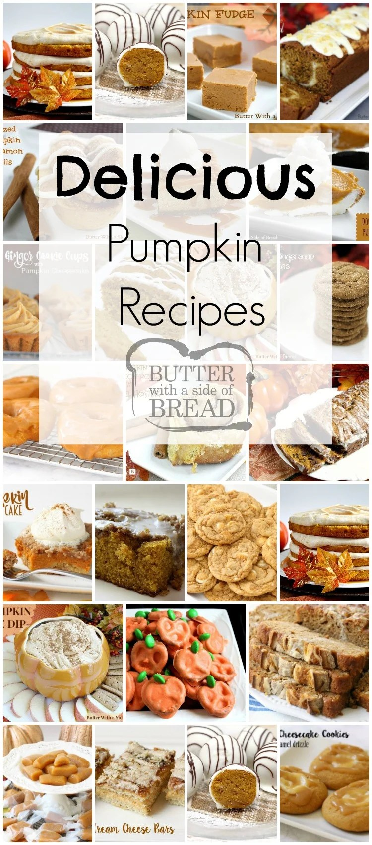 Delicious Pumpkin Recipes perfect for Fall or any time of the year! Breads, cookies, candy cakes and more; everyone loves these tasty, festive pumpkin recipes.