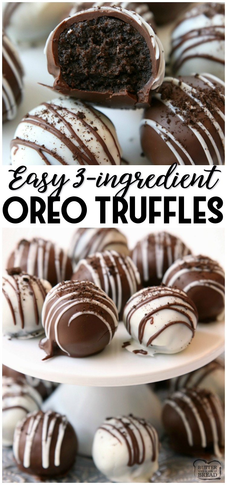 Oreo Balls made with just 3 ingredients & perfect easy dessert! Oreo Truffles made in minutes and so delicious, no one can guess they're made with Oreo cookies! #oreo #truffles #easy #dessert #chocolate #recipe from BUTTER WITH A SIDE OF BREAD