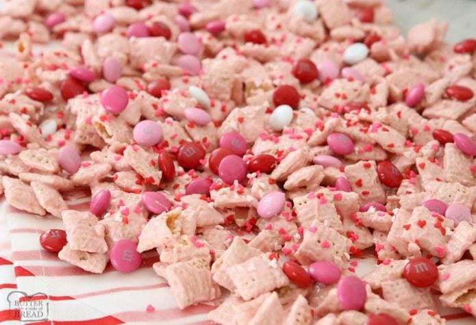 Strawberry Valentine Chex Mix Butter With A Side Of Bread