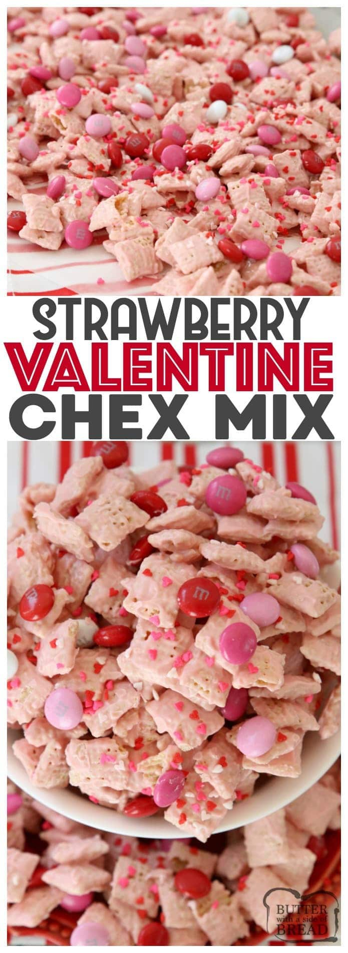Strawberry Valentine Chex Mix is a delicious snack treat that is fun to make and perfectly festive for Valentine's Day! White chocolate coated Chex Mix cereal with added candies make the perfect sweet treat to share and eat.