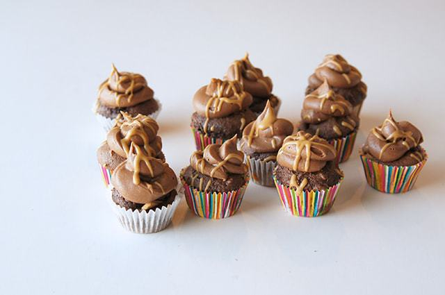 butter with a side of bread, chocolate peanut butter cup cupcakes