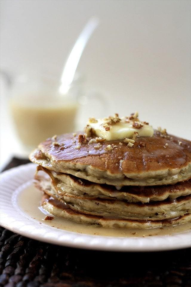 My clan can devour a batch of fresh pancakes in about 20 minutes flat. Yep, even my baby holds her own during the breakfast hour. Poor little thing is learning to eat faster, for fear there will be nothing left. Isn't that always how it is in larger families?! {especially ones with boys!}