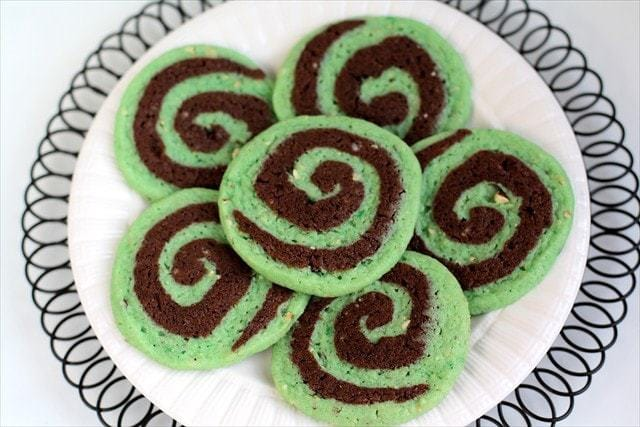 Chocolate Pistachio Pinwheel Cookies combine chocolate and pistachio flavors into a simple, but delicious and impressive cookie recipe that is perfect for St. Patrick's Day!