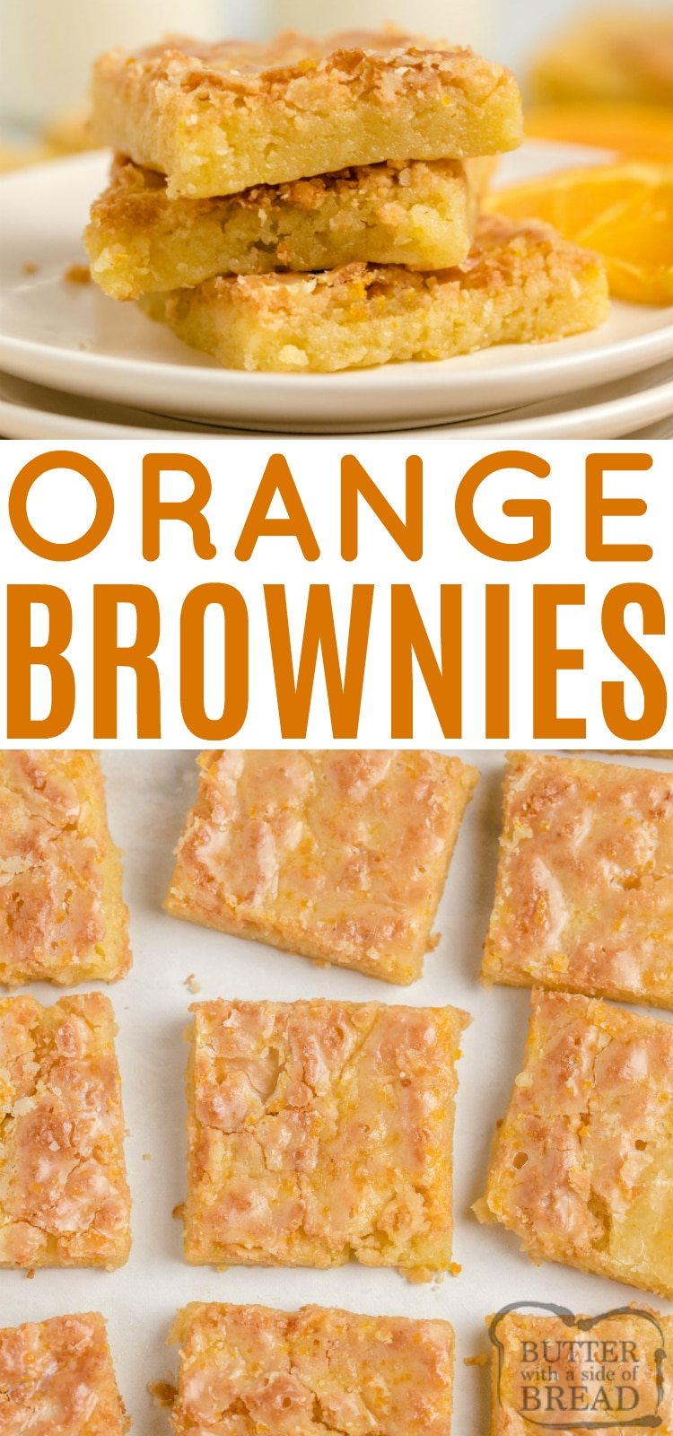 Glazed Orange Brownies are full of orange flavor in a soft and chewy dessert bar recipe. These orange brownies are even more delicious with a simple orange glaze on top!