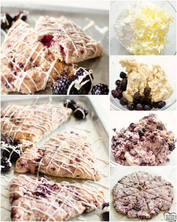 Easy Homemade Blackberry Scone recipe for buttery, soft & flavorful scones. Easily the best scone recipe ever! Good with blueberries & strawberries too!