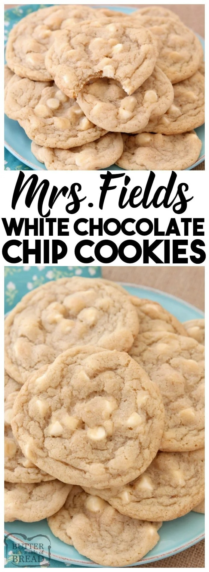 White Chocolate Chip Cookies are soft, delicious cookies filled with sweet white chocolate chips. Copycat Mrs.Field's cookie recipe that everyone can make at home!