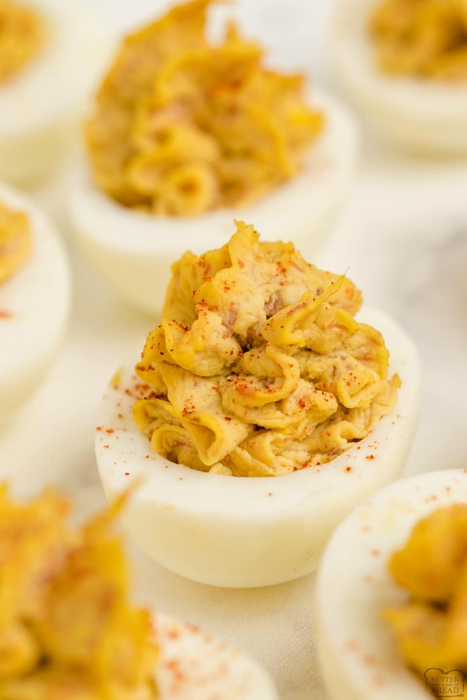 Easy Bacon Cheddar Deviled Eggs recipe