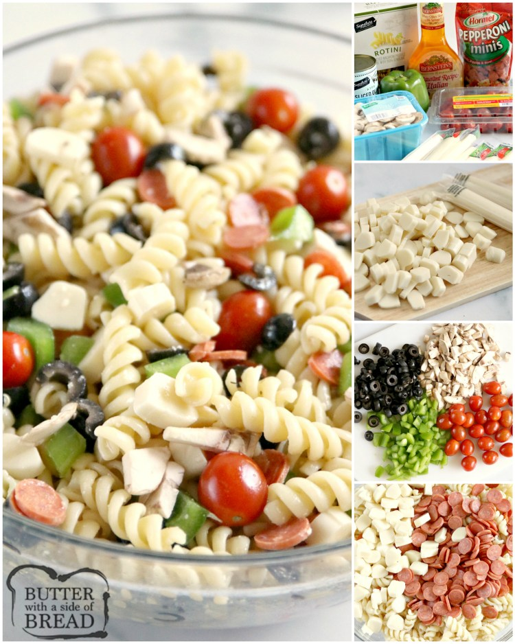 Pizza Pasta Salad is easy to make and full of pepperoni, mozzarella cheese, olives and all of your other favorite pizza toppings! This pasta salad is perfect for parties and potlucks!