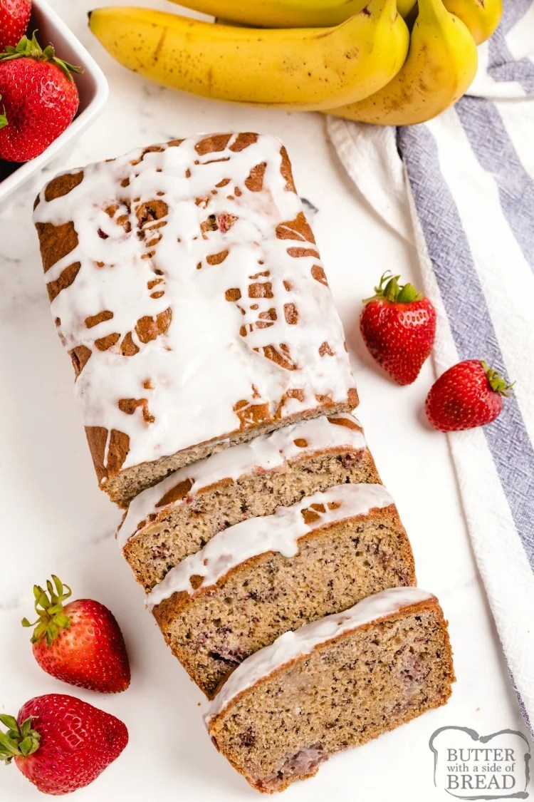 Banana bread with fresh strawberries and lemon glaze