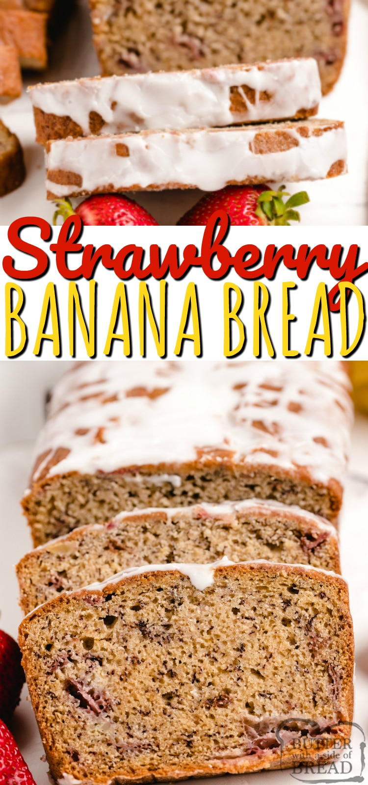 Strawberry Banana Bread is a delicious variation on traditional banana bread. Full of fresh strawberries and bananas and topped with a delicious lemon glaze, this banana bread recipe is one you must try!