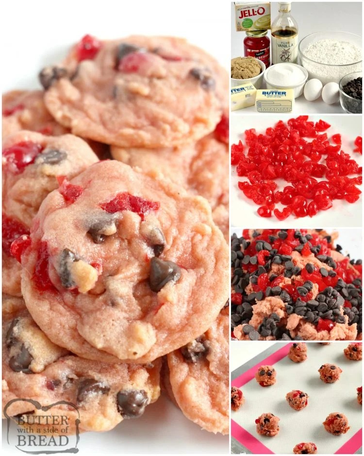 Step by step instructions on how to make cherry chocolate chip cookies