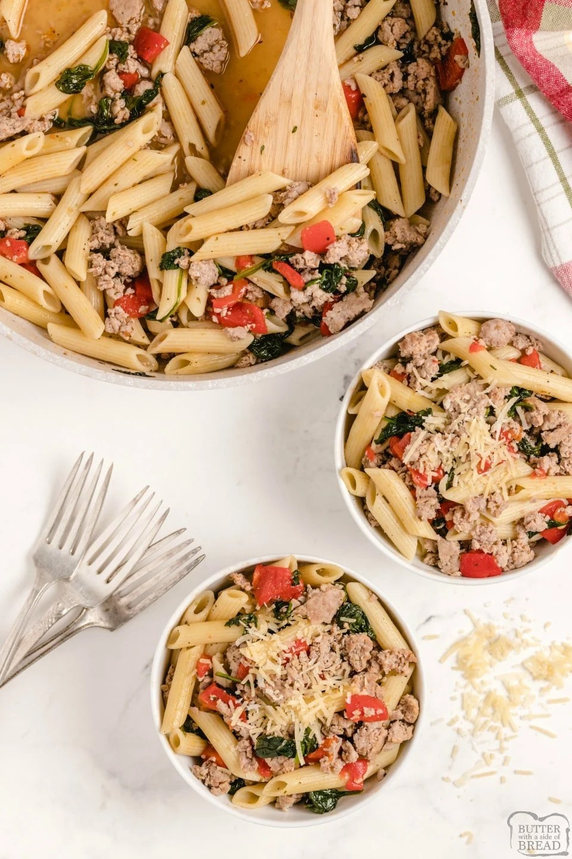 Light Spinach, Sausage & Pepper Pasta
