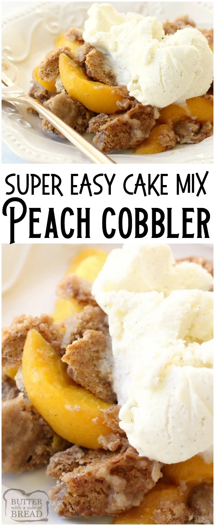 Peach Cobbler with Cake Mix could not be any simpler to make! All it takes is a cake mix + peaches + a can of soda + cinnamon. Delicious and easy peach cobbler recipe! #peach #cobbler #cakemix #dessert #baking #sweets #recipe from BUTTER WITH A SIDE OF BREAD