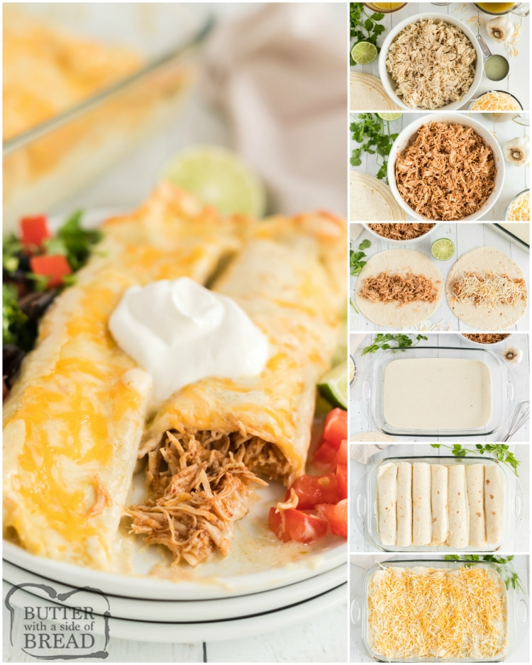 Step by step instructions on how to make chicken enchiladas