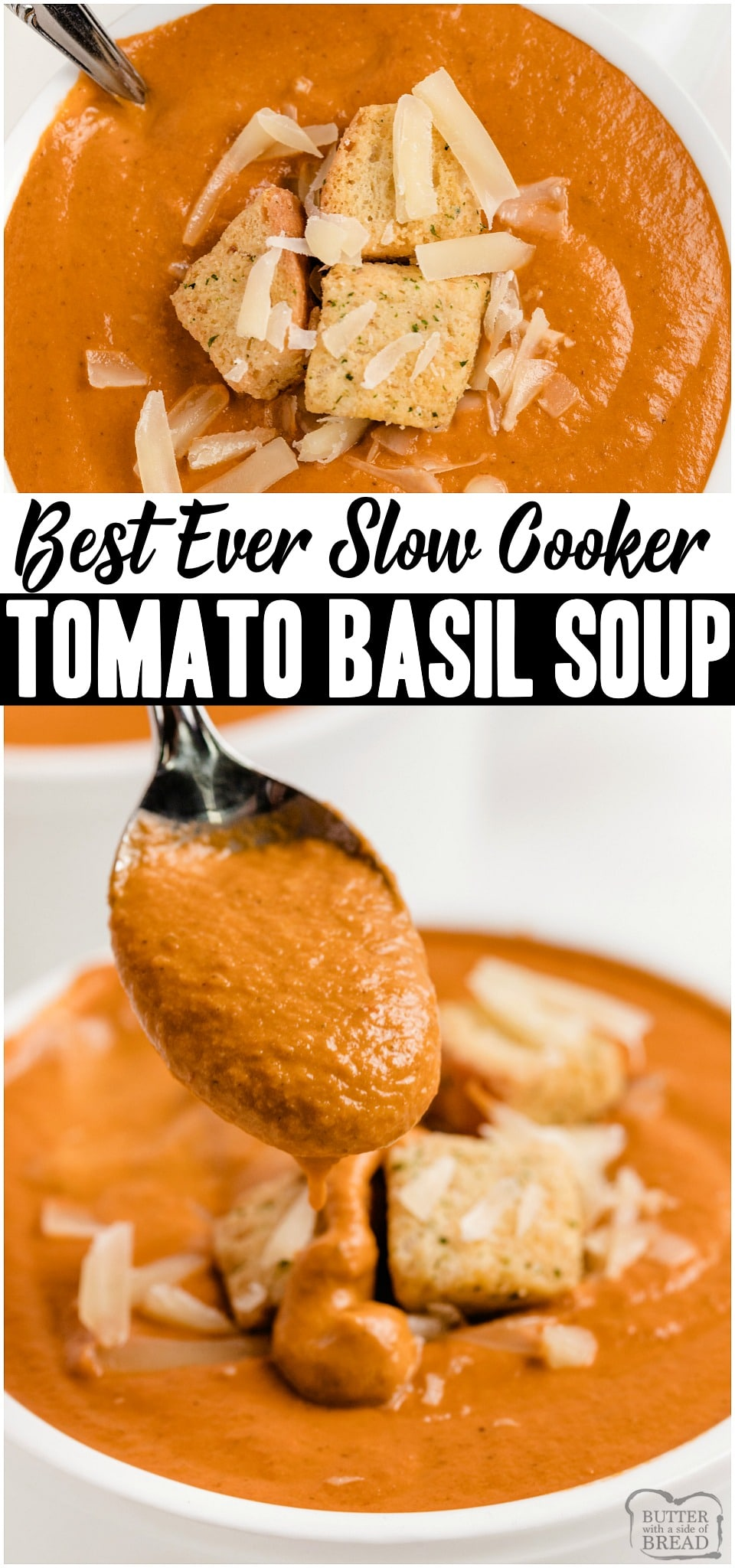 Tomato Basil Soup made with ripe tomatoes & pesto sauce blended until smooth & creamy & served topped with cheese & croutons! It's just like the Tomato Basil Soup recipe served at Cafe Zupas! #tomato #soup #tomatobasil #CafeZupas #souprecipe from BUTTER WITH A SIDE OF BREAD