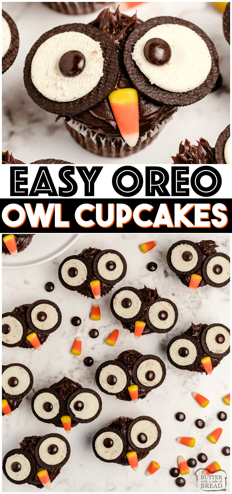 Oreo Owl Cupcakes made with chocolate ganache, Oreos and candy! Easy chocolate cupcakes made to look like little owls. Simple Halloween cupcakes that everyone loves!#cupcakes #Halloween #Oreo #Owl #OwlCupcakes #Easydessert #recipe from BUTTER WITH A SIDE OF BREAD