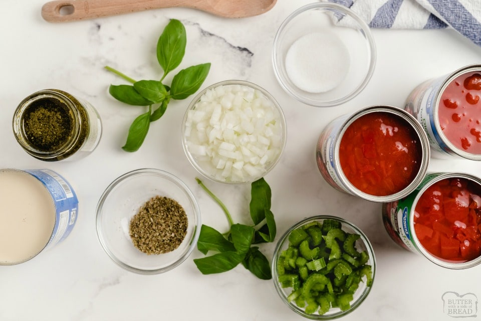 ingredients for Tomato Basil Soup recipe