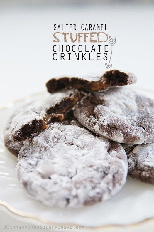 Salted Caramel Stuffed Chocolate Crinkles are a delicious and gooey cookie eating experience that will have you eating them by the handfuls at a time. Chocolate, caramel, salty sweetness in every soft and chewy bite.