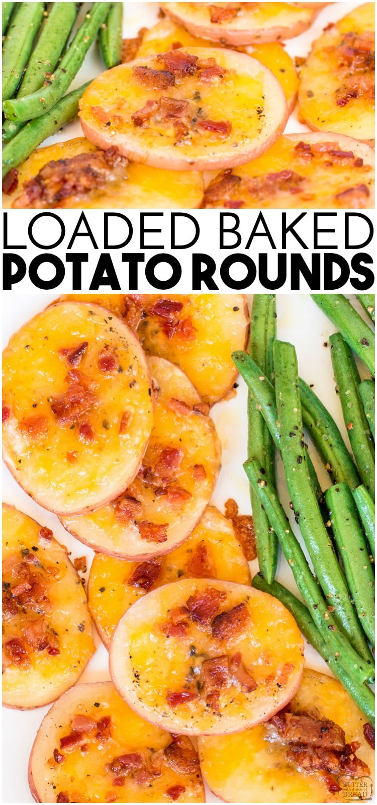 Loaded Baked Potato Rounds are quick and easy to make. Baked potatoes sliced thin and topped with bacon, cheese and sour cream! Perfect appetizer or side dish.