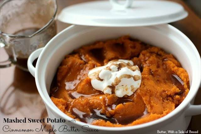 Mashed Sweet Potatoes are so easy to make! Add this dreamy Cinnamon Maple Butter Sauce and you won't be able to go to another dinner party without it!