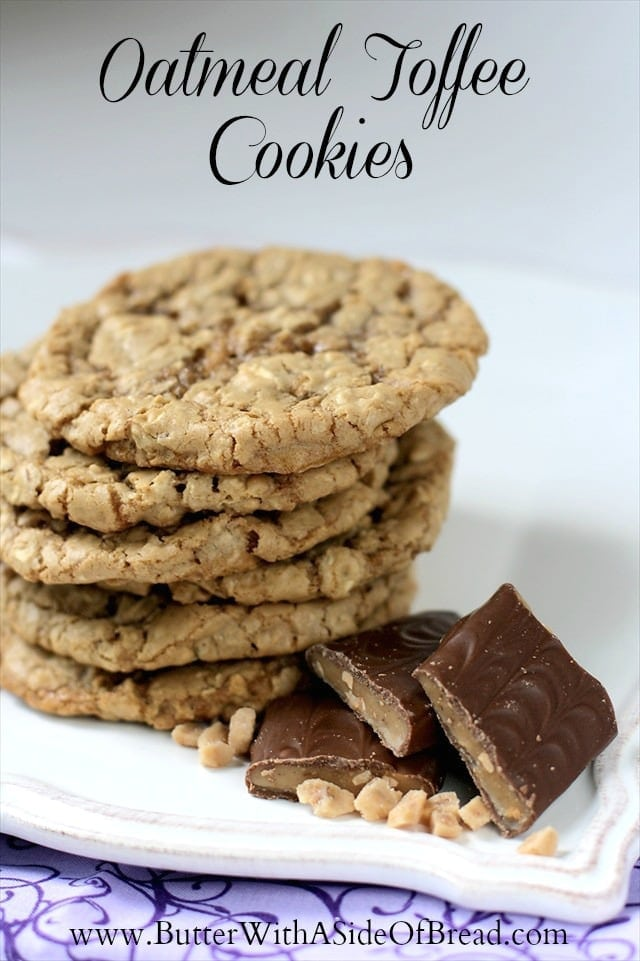 I've always loved toffee and I jump at the chance to incorporate it into recipes throughout the year. I found this simple recipe for Oatmeal Toffee Cookies years ago in a Cooking Light magazine. To be honest, I don't really know why it was featured there of all places when it has a cube of butter in it, but oh well! The have a wonderful flavor and I love the chewiness of the oatmeal and toffee combination. Yum!