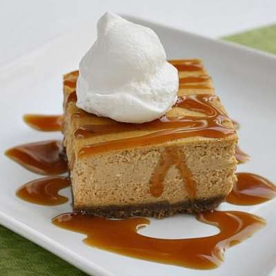 PUMPKIN CARAMEL CHEESECAKE BARS
