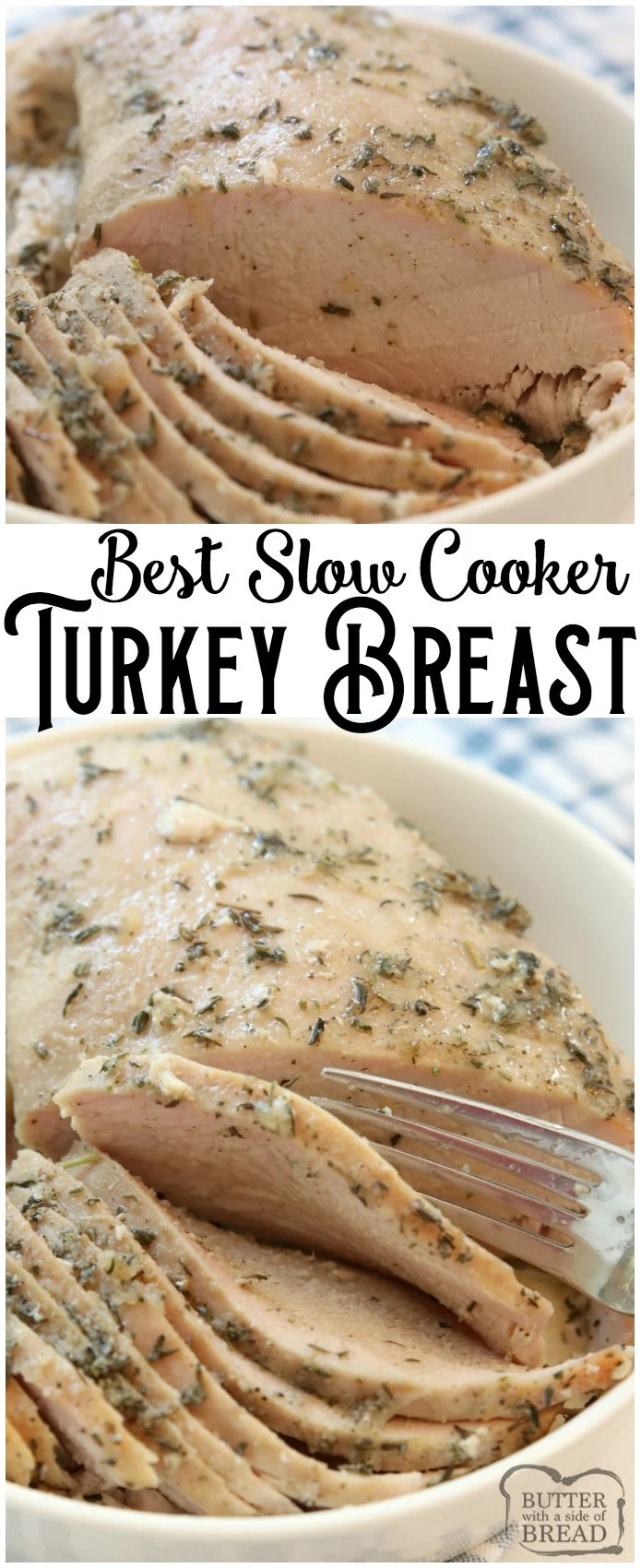 Easy Slow Cooker Turkey Breast recipe made with butter, a sliced apple and a basic mix of traditional seasonings. Crock pot turkey breast recipe perfect for any time of the year! #slowcooker #crockpot #turkey #turkeybreast #protein #recipe #dinner #food from BUTTER WITH A SIDE OF BREAD