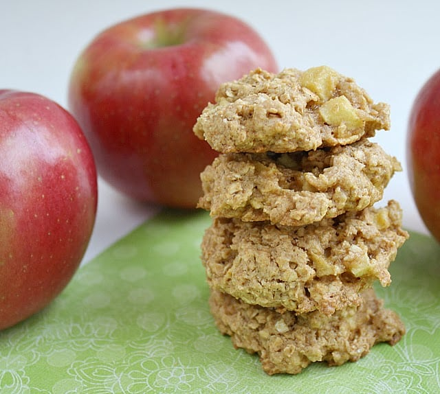 Apple Cinnamon Oatmeal Cookies are the perfect fall cookie! It is like a delicious bite of pie in cookie form plus they are much quicker and easier to make!