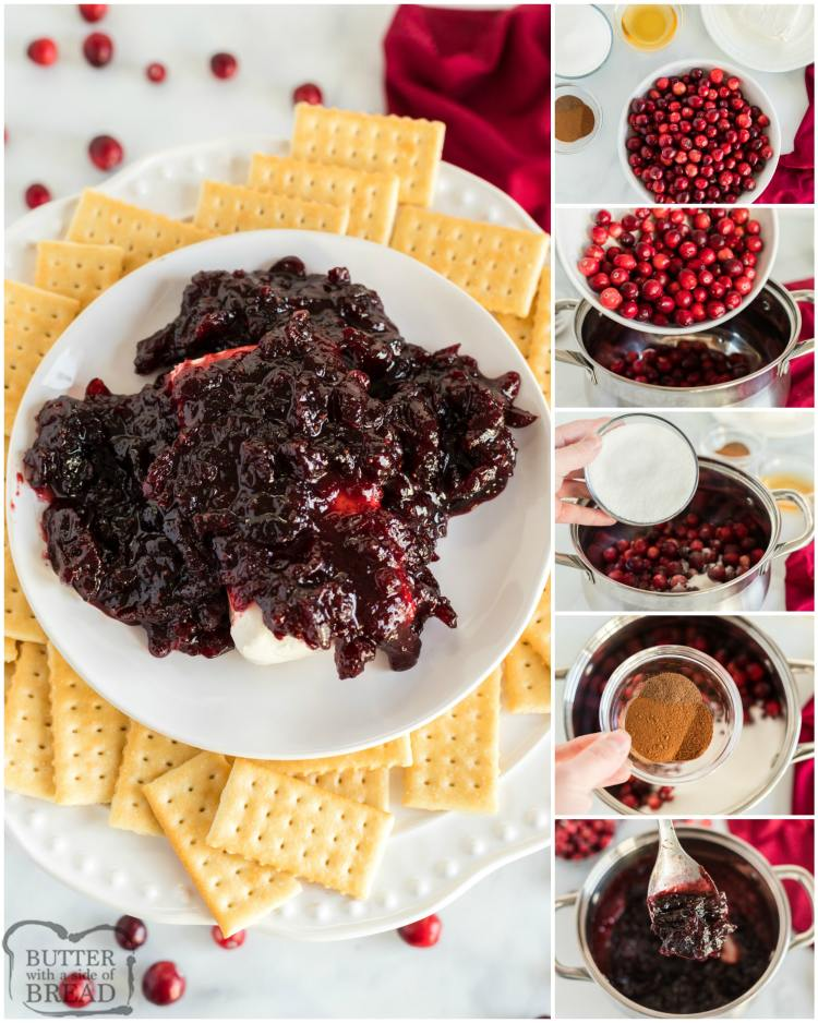 Step by step instructions on making cranberry cream cheese dip