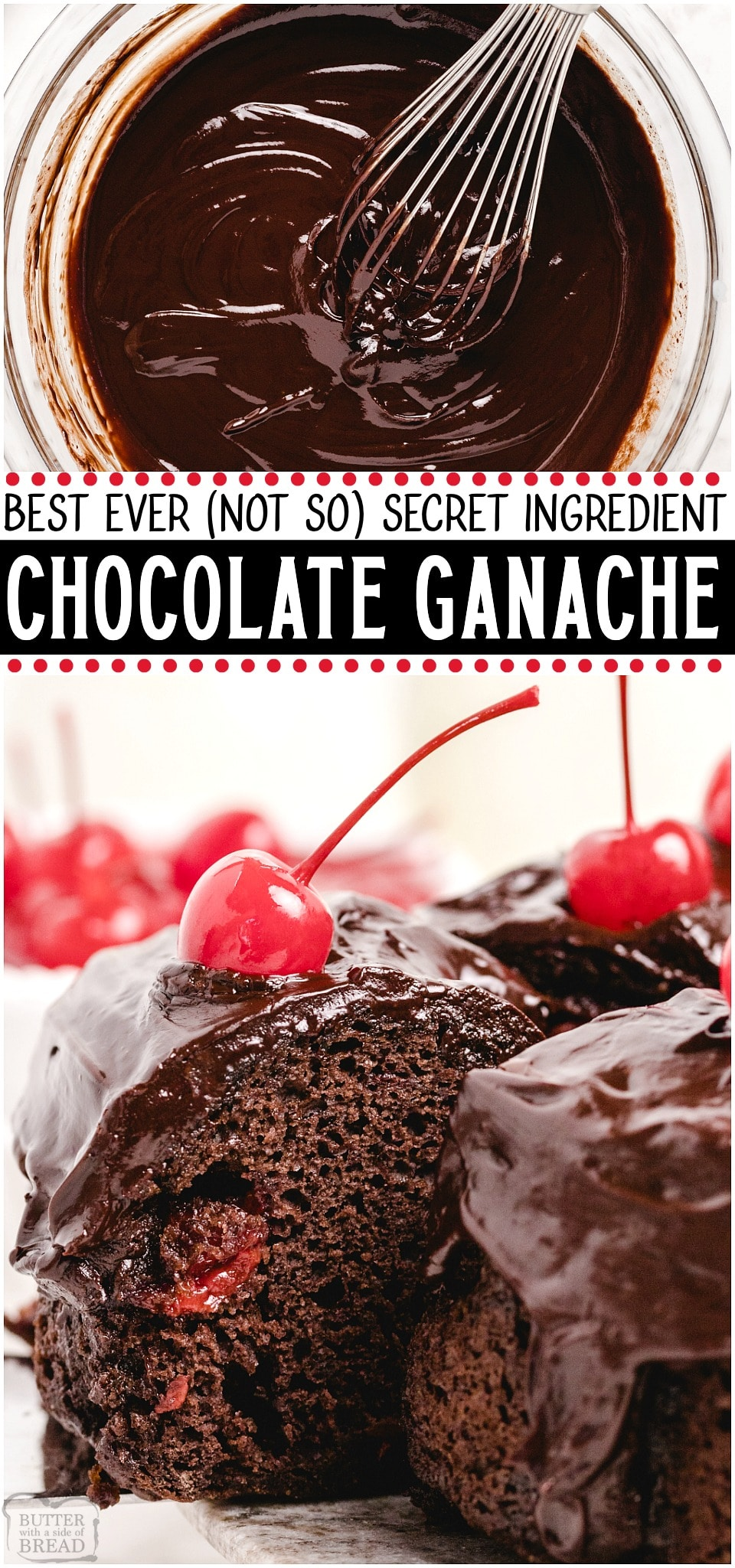 """Best Chocolate Ganache Ever made with just 3 ingredients & yields the silkiest, smooth & rich ganache. You MUST TRY my recipe- the """"secret"""" ingredient makes my chocolate ganache incredible!#chocolate #ganache #dessert #homemade #butter #easyrecipe from BUTTER WITH A SIDE OF BREAD"""