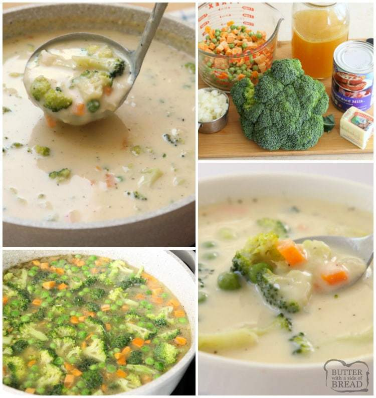 Creamy Vegetable Soup made easy in 30 minutes or less! Simple, flavorful & comforting vegetable soup recipe perfect for cold nights. Time saving tips too!
