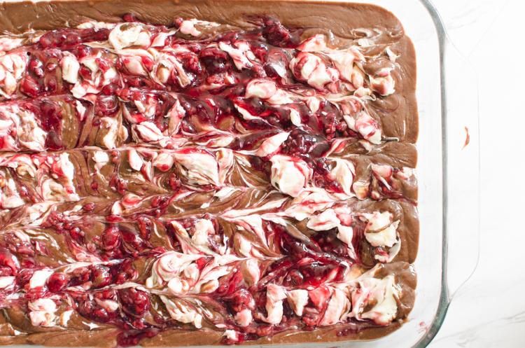 swirled brownies before baking