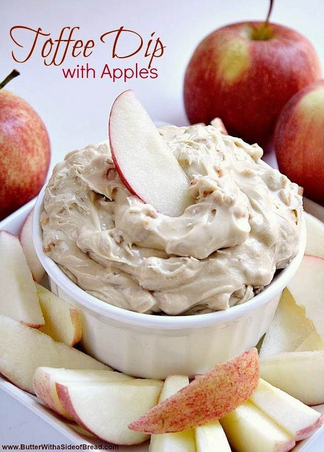 Toffee Dip with Apples is the perfect appetizer or snack to take to any party because it is so easy to whip up, and the toffee bits add the perfect flavor!