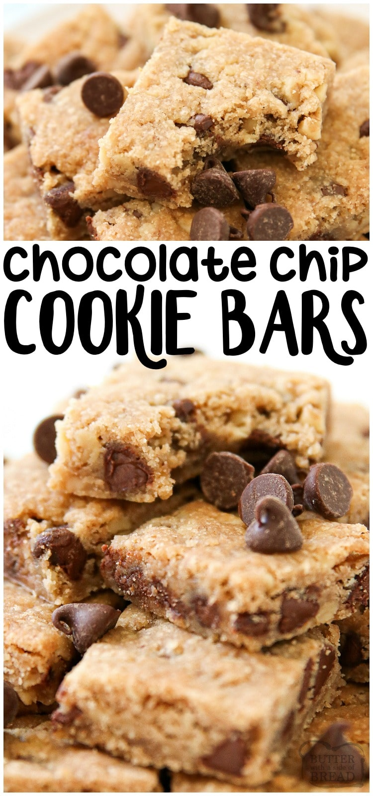 Easy Chocolate Chip Bars are the best chocolate chip cookie recipe made into a cookie bar recipe! This delicious treat is so easy, ready in 30 minutes, and is loved by everyone.