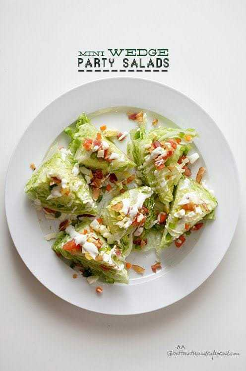 mini wedge party salads at butter with a side of bread