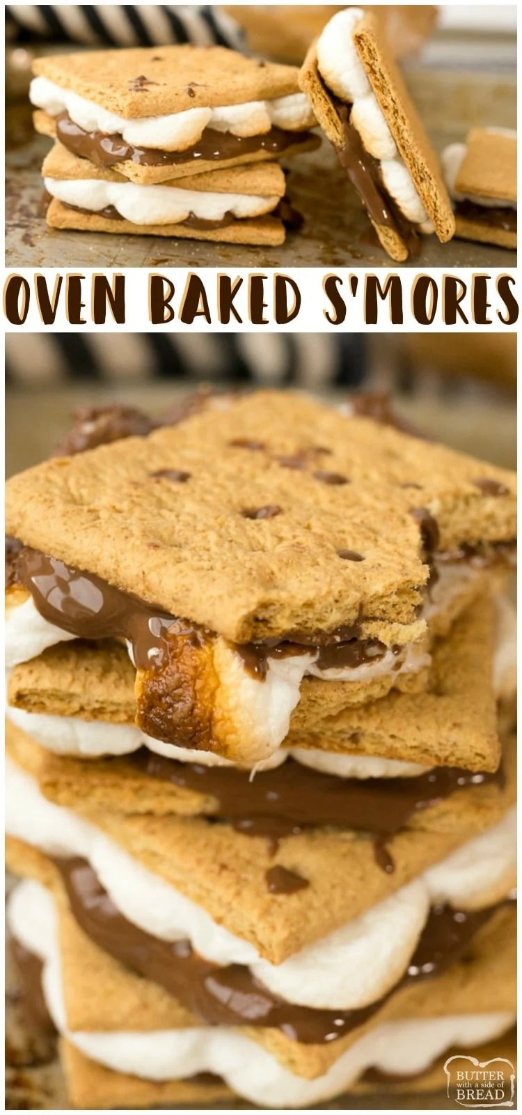 Smores in the Oven are the perfect way to make oven baked s'mores for a crowd, without the campfire! Have this classic summer dessert anytime of year! Try it as a s'mores dip if you feeling fancy.
