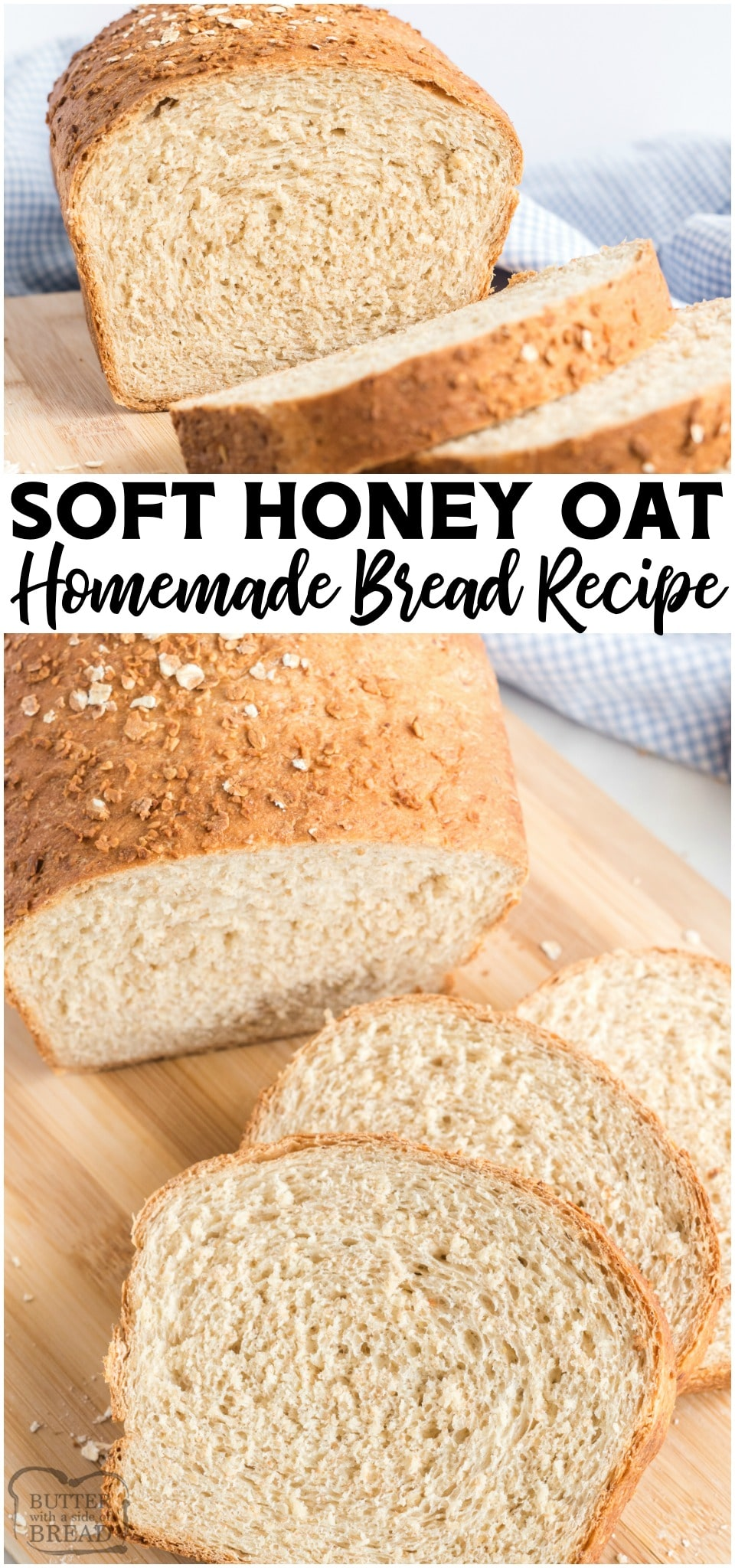 Honey Oat Bread recipe made with part whole wheat flour, honey, milk and oats. It's one of my favorite homemade bread recipes!
