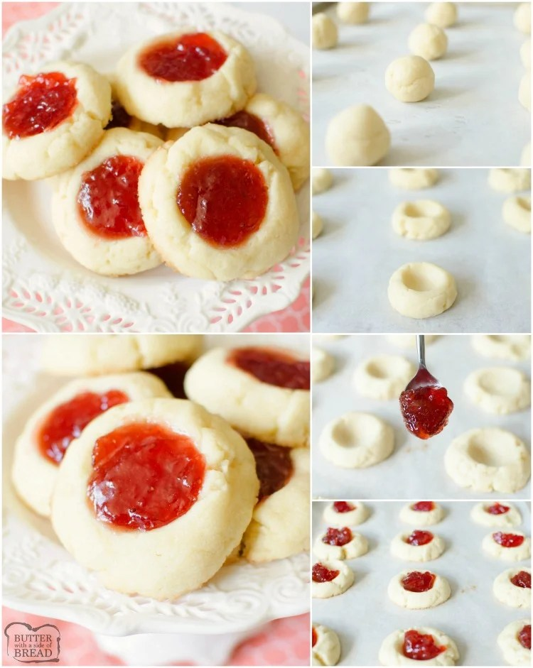 Easy recipe for Soft Jam Thumbprint Cookies perfect for the holidays! Buttery cookies with great flavor, filled with your favorite sweet jam. Perfect for Christmas cookie exchanges!