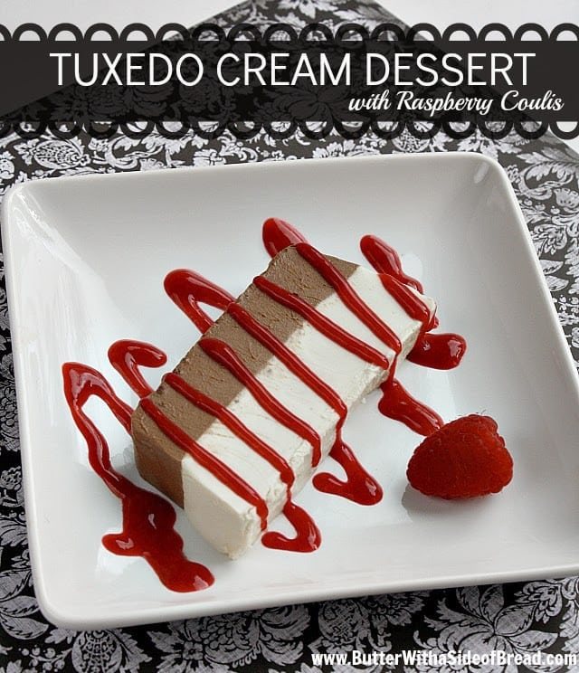 I finally found this Tuxedo Cream Dessert in the 2011 Taste of Home Contest Winning Recipes cookbook and decided to give it a try. It is AMAZING! It really isn't very complicated, it only requires a few ingredients and the presentation was beautiful and definitely fancy - it was a huge success!  The best part is that I could make it the day before and not have to worry about getting all of it ready at the last minute!