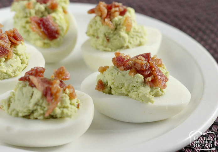 Bacon Avocado Deviled Eggs made with all the classic deviled egg ingredients, plus avocado! Creamy, flavorful and the best part is they have bacon on top. These are THE BEST deviled eggs you'll ever try!