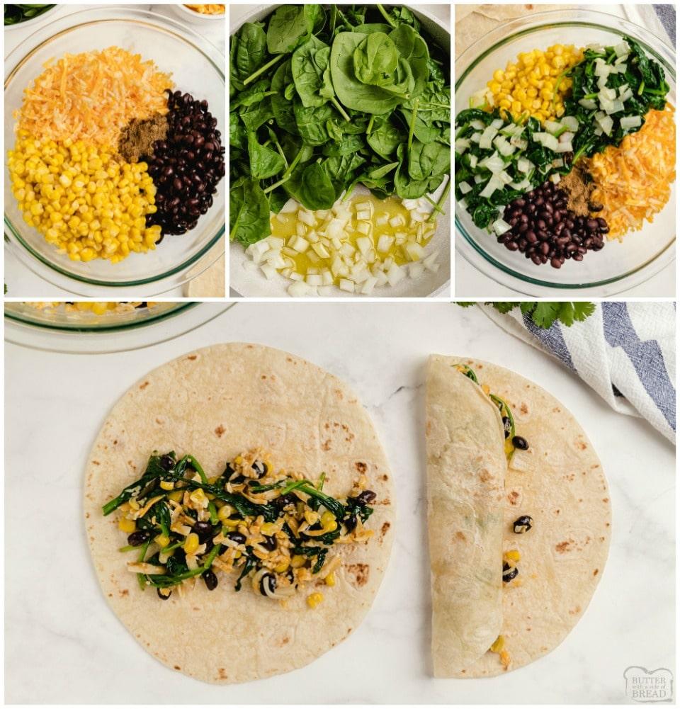 how to make Spinach Black Bean Vegetarian Enchiladas recipe