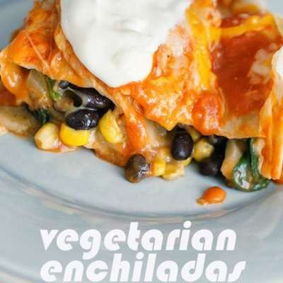 VEGETARIAN ENCHILADAS WITH SPINACH & BLACK BEANS