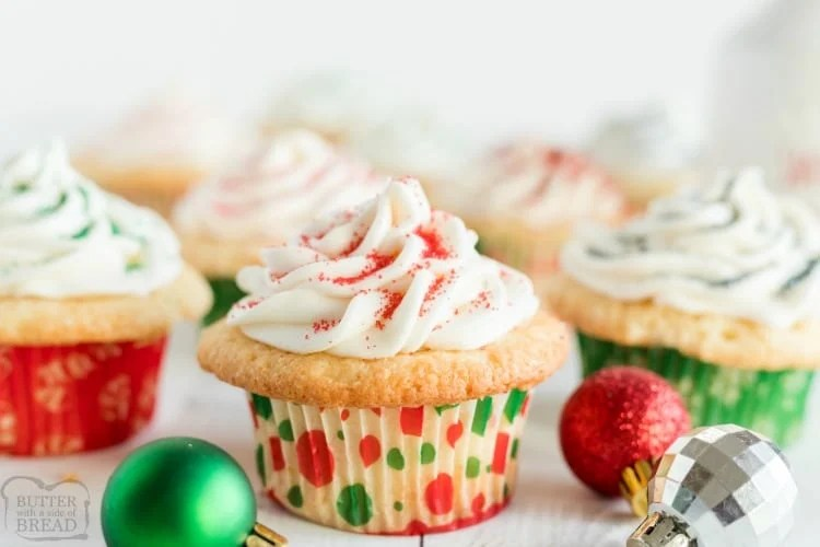 Sugar Cookie Cupcakes are cupcakes that taste just like sugar cookies! The best flavors of two incredible desserts combine in these soft and sweet vanilla frosted cupcakes.