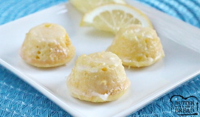 Little Lemon Drop Glazed Mini Cupcakes are delicious bite-sized treats that start with a lemon cake mix! The easy lemon glaze soaks into the inverted mini cupcakes and is a simple, incredibly delicious lemon cake mix recipe!