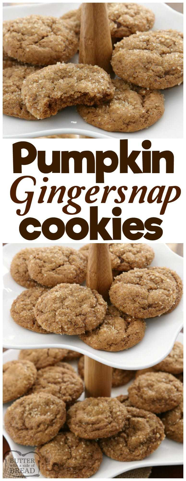 Pumpkin Gingersnap Cookies are soft, perfectly spiced gingersnap cookies made with pumpkin! Classic cookie recipe with a twist perfect for holiday baking. Perfect #gingersnap #cookie #recipe for the #holidays from Butter With A Side of Bread #baking #