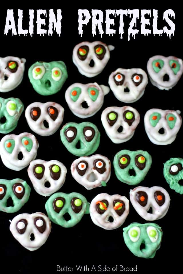 Alien Pretzels made from candy coated mini pretzels with a paranormal twist! Perfect for Halloween or anytime you need a spooky, creepy treat!