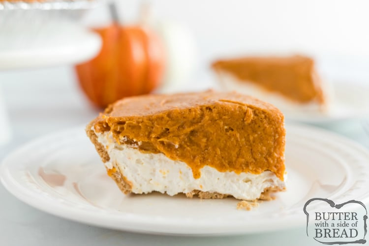 No Bake Pumpkin Pie is made with a graham cracker crust, a cream layer and a delicious pumpkin layer on top. This easy pumpkin pie recipe takes less than 5 minutes to make and no baking is required!