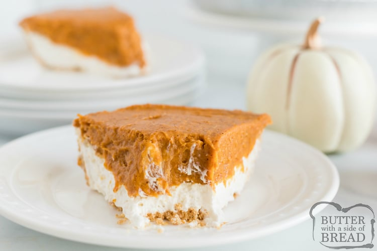 Slice of easy pumpkin pie recipe